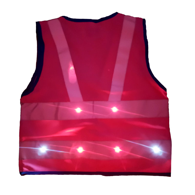 Warnweste, pink – leuchtend, Rückansicht